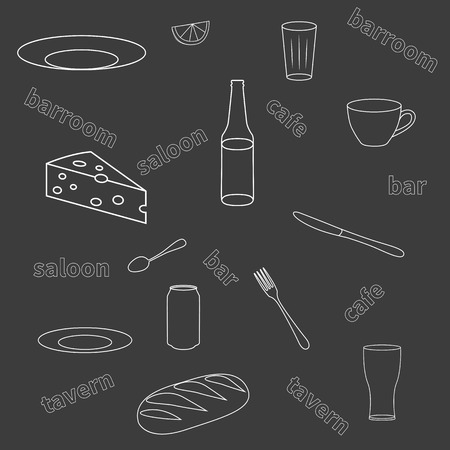 tavern: Vector illustration of a seamless pattern of kitchen utensils. Background to the tavern bar cafe.