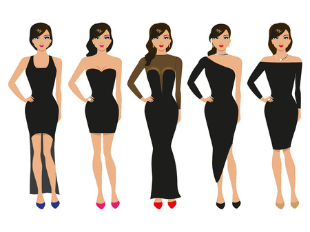 Vector illustration of a set of evening dresses. The girl in a dark dress isolated on white background. The concept of fashion and out the ball.