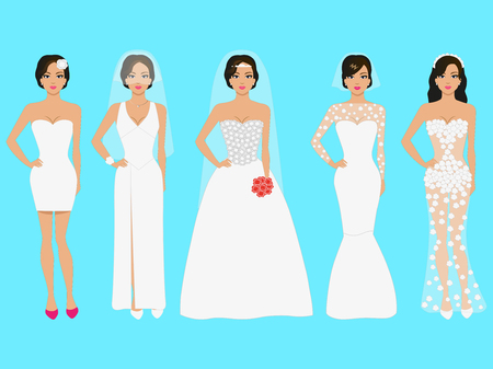 Vector illustration of a set of wedding dresses. Beautiful girl in evening dress white. The dress on prom night, a celebration, a party.