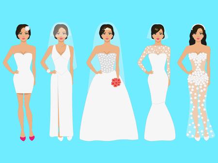 Vector Illustration einer Reihe von Hochzeitskleidern. Schöne Mädchen im Abendkleid weiß. Das Kleid auf Prom Night, ein Fest, eine Party.