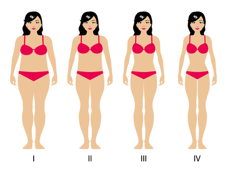 gradual: Vector illustration of a concept of gradual weight loss. Beautiful girl in lingerie isolated on white background. Weight loss in four stages.