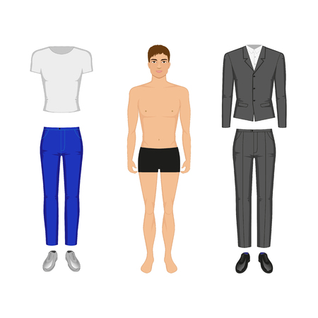 Vector illustration of a man in his underwear. Selection of casual wear or evening dress. On an isolated white background.