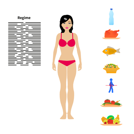beautiful eating: Vector illustration of a beautiful girl in lingerie. The concept of diet, healthy eating, healthy lifestyle. Infographics weight loss. Regime and daily routine. Illustration
