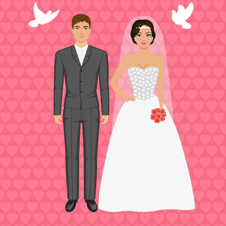 Vector illustration of a couple standing on the background of flying pigeons. Wedding concept. Bride and groom. Illustration