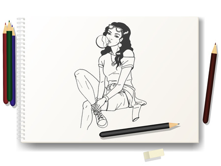 rough draft: Vector illustration of a beautiful girl a hand-drawn pencil on the album A4. The concept of learning to draw the characters. Drawing lessons.