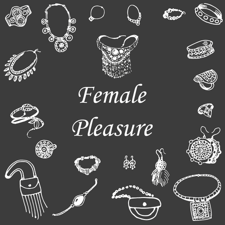 necklet: Vector illustration of a variety of decorations. Doodle bijouterie. Jewelry hand-drawn. Female pleasure on a dark background.
