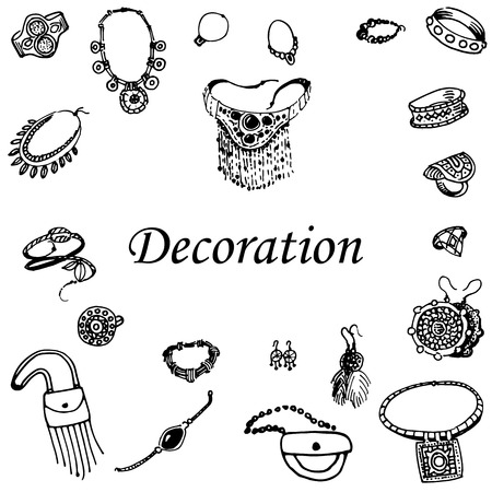 necklet: Vector illustration of a variety of decorations. Doodle bijouterie. Jewelry hand-drawn. On an isolated white background.