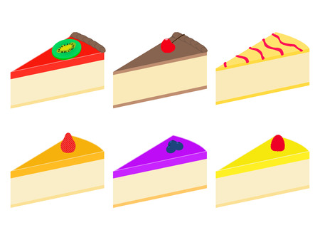blueberry cheesecake: Vector illustration set of colorful flat cheesecakes. On an isolated white background. Illustration