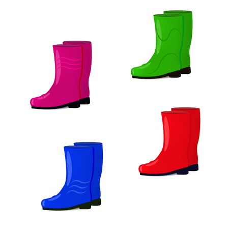 wellingtons: Vector illustration of a set of colored rubber boots isolated on white background. Shoes for fall and spring. Wellingtons for walking in the rain.