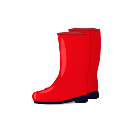 wellingtons: Vector illustration of red color rubber boots isolated on white background. Shoes for fall and spring. Wellingtons for walking in the rain.