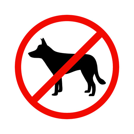 entrance is forbidden: Vector illustration of black dog silhouette on isolated white background. The dog is a side view profile. The concept of dogs is prohibited. Walking of animals is prohibited. Illustration