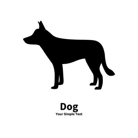 mongrel: Vector illustration of black dog silhouette on isolated white background. The dog is a side view profile.