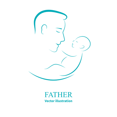 Vector illustration sketch father with a small baby. dad and newborn baby on an isolated white background. Doodle hand-drawn line drawing. Man holding infant. Side view of the profile. Ilustração Vetorial