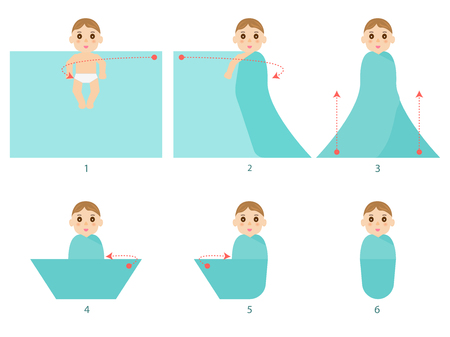 swaddle: Vector illustration set of a small child in diapers. Step by step instructions with arrows how to swaddle a newborn baby. Isolate white background. Flat style, infographics. Infant in nappy.