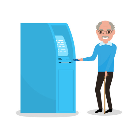 remittance: Vector illustration cartoon grandfather got a plastic credit card. Old man puts an electronic card into the ATM. Receive a pension. Loan for pensioner. Getting money through an cash dispenser.