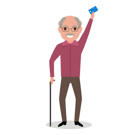 remittance: Vector illustration cartoon grandfather got a plastic credit card. Old man holding an electronic card payments. Receive a pension. Loan for pensioner. Concept of a happy old age, retirement.