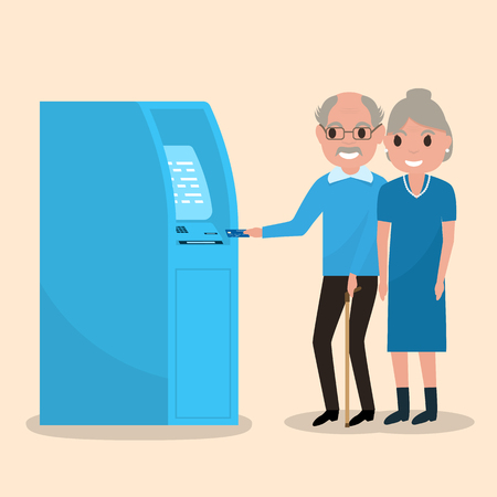 remittance: Vector illustration grandfather and grandmother got a plastic credit card. Old man puts an electronic card into the ATM. Receive a pension. Loan for pensioners. Getting money through an cash dispenser