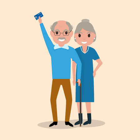 remittance: Vector illustration grandfather and grandmother got a plastic credit card. Old man holding an electronic card payments. Receive a pension. Loan for pensioners. Concept of a happy old age, retirement. Illustration