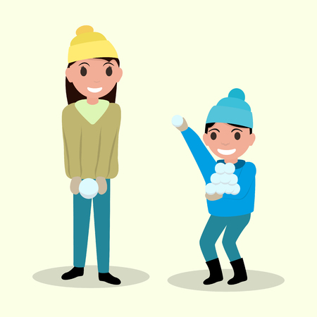 palle di neve: Vector illustration of two cartoon happy child playing snowballs. Glad boy and girl playing with snow. Flat style. Outdoor Play.