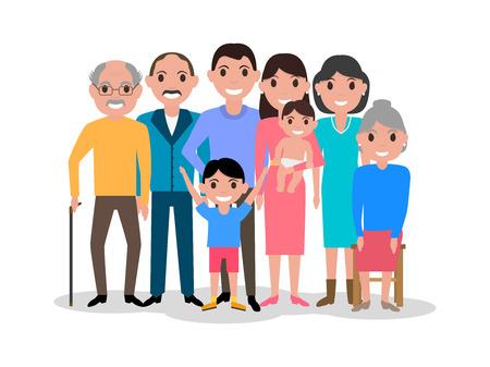 Vector illustration d'une chère famille heureuse de bande dessinée. Dessin, l'image isolé sur fond blanc. Big joli portrait de famille. le style plat. grand-père de l'image, la grand-mère, les parents avec leurs enfants.