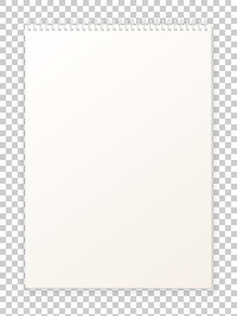 Vector illustration vide vide format A4 album pour le dessin. Nettoyer le bloc-notes pour les esquisses. scrapbook isolé. feuille de papier du livre avec spirale. Vecteurs