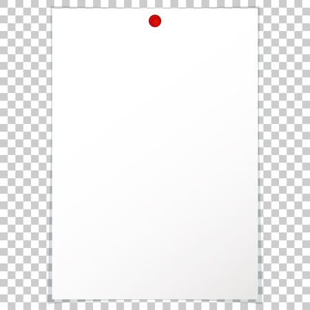 pinboard: Vector illustration of a blank album sheet of paper attached to a red pushpin. Isolated paper format A4 for notes, for records. Illustration