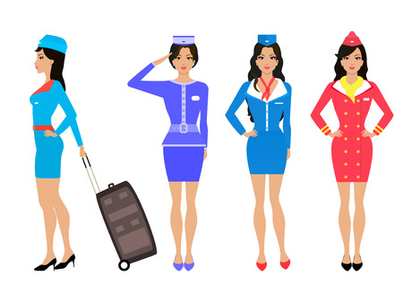 cyan business: Vector illustration set of beautiful stewardess girl in a dress and skirt. Drawing isolated on white background. Air hostess in uniform with his luggage suitcase. Various forms of the flight attendant