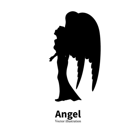 Vector illustration of black silhouette of a young girl with angel wings praying. Religious woman bows to God. Isolated white background. icon angel. Side view profile. Illustration