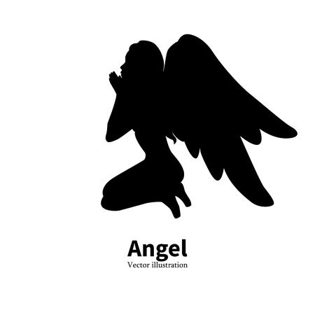 angelical: Vector illustration of black silhouette of a young girl with angel wings praying. Religious woman bows to God. Isolated white background. icon angel. Side view profile. Illustration