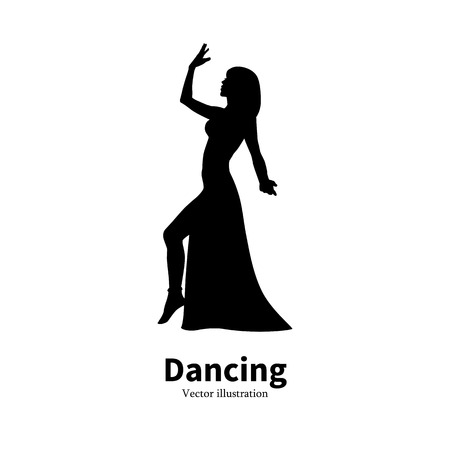 Vector illustration of black silhouette of a dancing girl. Dancer woman on an isolated white background. The concept of oriental Eastern belly dance. icon Bollywood dance. Profile side view.