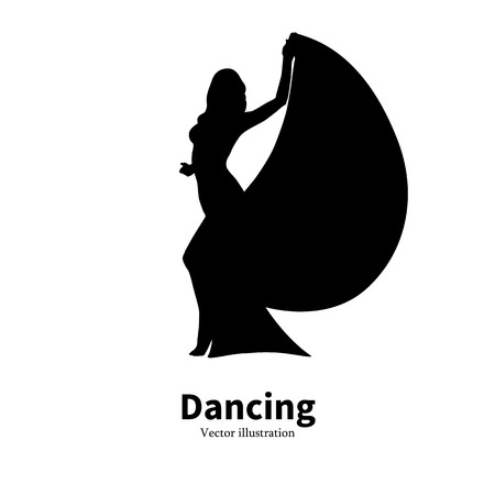 bollywood: Vector illustration of black silhouette of a dancing girl. Dancer woman on an isolated white background. The concept of oriental Eastern belly dance. icon Bollywood dance. Profile side view.