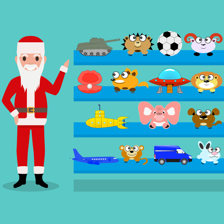 Vector illustration of cartoon Santa Claus shows the toys on the shelf. Toy gifts for children at Christmas and New Year. Flat style. Toy shop. Illustration