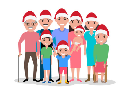 relatives: Vector illustration cartoon cheerful funny happy family in the cap of Santa Claus. Portrait parents, grandparents and children. Picture, drawing isolated on white background. Relatives for Christmas.