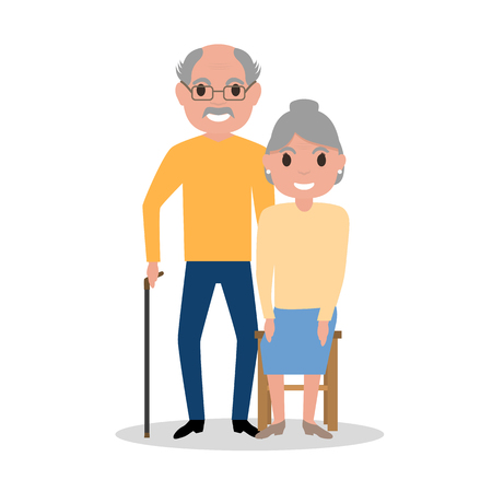 Vector illustration of an elderly couple grandparents, aged people. Cartoon old men. Drawing, picture isolated on white background. Flat style. Old happy family, retirement. Grandparents day. Illustration
