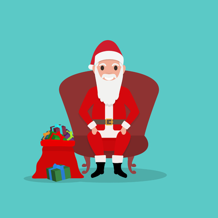 Vector illustration of cartoon happy funny Santa Claus sits in a chair with a bag of gifts. Father Frost with presents. Flat style. Background drawing for Merry Christmas and New Year. Illustration
