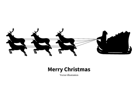 Vector illustration black silhouette of Santa Claus in sleigh carrying gifts to children. Father Frost riding on reindeer. Image isolated on white background. icon Christmas. Side view, profile.