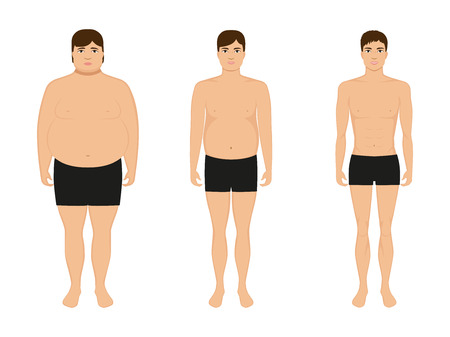 Vector illustration cartoon guy losing weight. Slimming man. Male lose weight, grows thin. Picture human body before and after diet and fitness. Comparison fat and athletic boy. Drawing isolated.