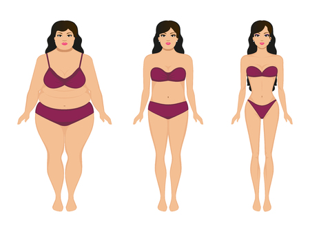 Vector illustration cartoon woman slimming. Fat and slim girl. Female body before and after weight loss, diet and fitness. Comparison athletic girl and plump woman. Growing thin lady. Flat style.  イラスト・ベクター素材