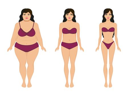 Vektor-Illustration Cartoon Frau abnehmen. Fett und schlanke Mädchen. Weibliche Körper vor und nach der Gewichtsabnahme, Diät und Fitness. Vergleich sportliche Mädchen und rundliche Frau. Wachsende dünne Dame. Wohnung Stil.