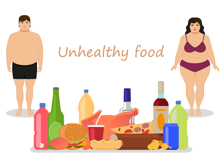 adverse: Vector illustration cartoon fat man and woman with harmful fatty nutrition. Concept female and male obesity. Unhealthy food. Flat style. People obese. Girl, boy and junk food, alcohol.