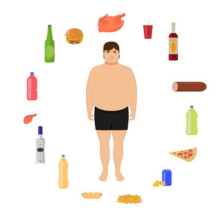 unhealthy lifestyle: Vector illustration cartoon fat man and unhealthy food. Boy and harmful, junk nutrition. Concept of human unhealthy lifestyle, male obesity. Flat style. Male body and alcohol, fatty fast food. Illustration