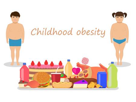 obesidad infantil: ilustración vectorial de los niños de dibujos animados de grasa con alimentos grasos perjudiciales. Concepto de la obesidad infantil. Los niños nutrición poco saludable. estilo plano. niño y niña obesa. Los bebés y comida chatarra. Vectores
