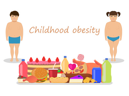 adverse: Vector illustration of cartoon fat kids with harmful fatty food. Concept of childhood obesity. Children unhealthy nutrition. Flat style. Little boy and girl obese. Babies and junk food.