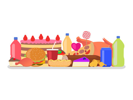 Vector illustration heap set of colorful food. Harmful to health snack. Drinks, sweets and fatty meal. Picture, drawing isolated on white background. Flat style. Junk nutrition. Ilustração