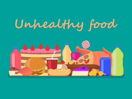 adverse: Vector illustration background unhealthy food. Set junk nutrition. Harmful fast food for health. Flat style. Large collection of fatty unhealthy snacks.