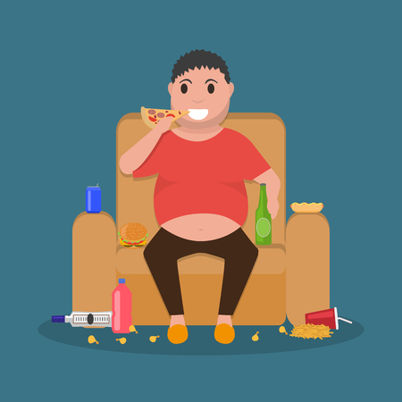 laziness: Illustration concept unhealthy lifestyle, human laziness. Cartoon fatty husband sitting on couch and eat junk food. Fat man obese on sofa. Flat style. Harmful food for health.