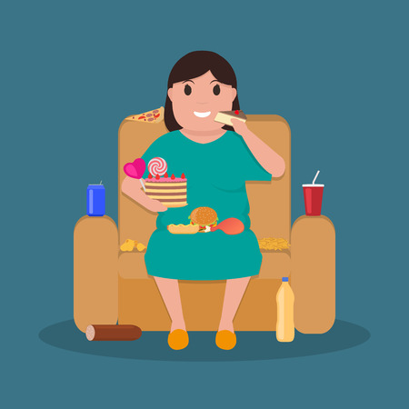 unkempt: Illustration concept unhealthy lifestyle, human laziness. Cartoon fatty wife sitting on couch and eat junk food. Fat woman obese on sofa. Flat style. Harmful food for health.