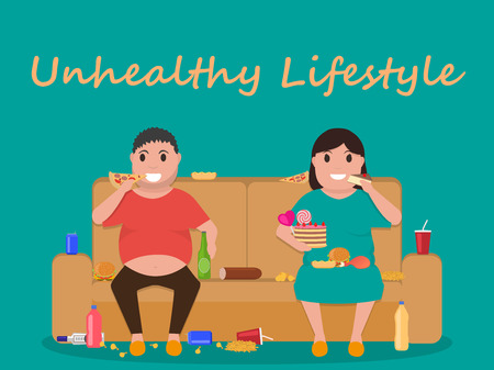 laziness: Illustration concept unhealthy lifestyle, human laziness. Cartoon fatty husband and wife sitting on couch and eat junk food. Fat man, woman obese on sofa. Flat style. Harmful food for health.