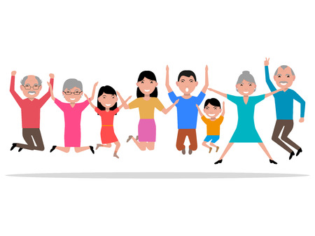 delight: Vector illustration cartoon jumping happy smiling people. Hopping for joy large family. Bouncing with delight people. Flat style. Leaping from happiness grandparents, parents and their children.