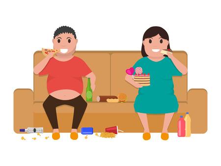 ベクトル イラスト漫画デブ男とソファの上に座っている女性は、食べ物を食べる。画像、上分離の白い背景を描画します。ソファの上脂肪の多い人  イラスト・ベクター素材